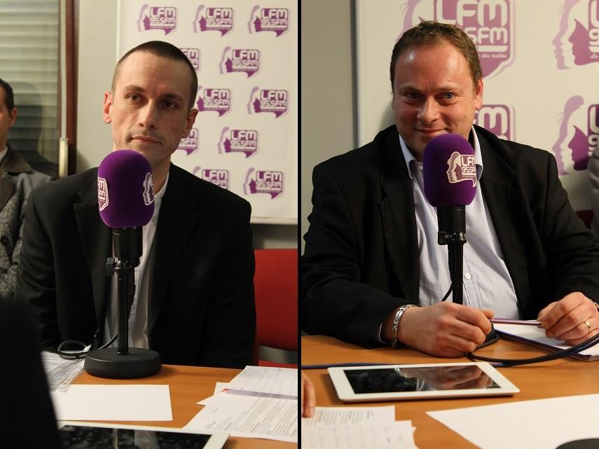 """Mantes-la-Jolie (Yvelines) - jeudi 9 janvier 2014 - Cyril Nauth (à gauche) était face à Eric Visintainer (Mantes en mouvement) dans la nouvelle émission hebdomadaire """"Municipales 2014, la dernière heure"""""""