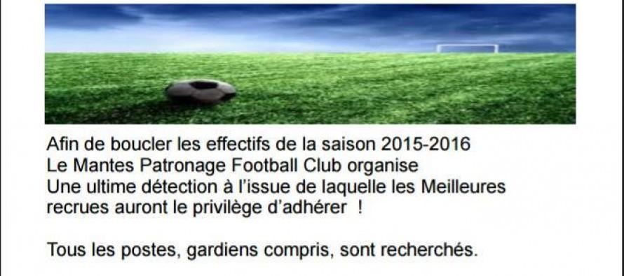Foot – Mantes Patronage FC : deuxième journée de détection le 29 août pour les U9, U11, U13, U15, U17 et U19