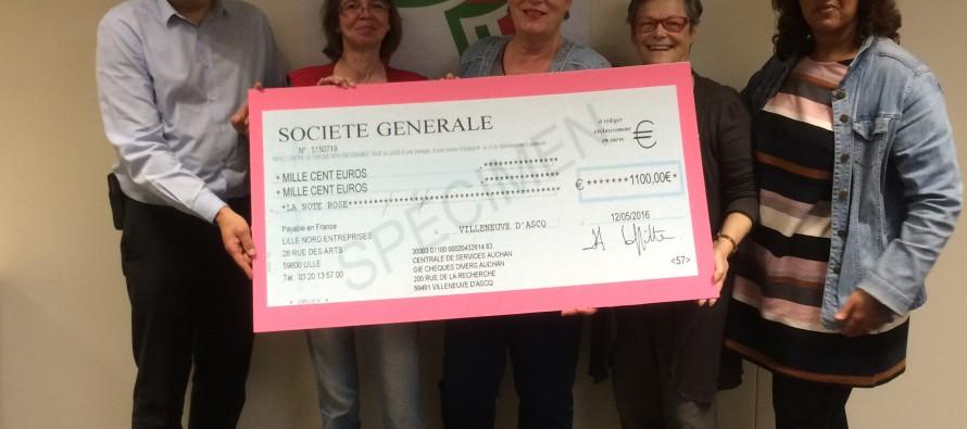 Solidarité : Auchan fait un don de 1100 € à La Note Rose