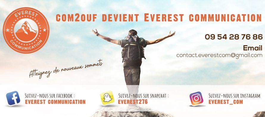 Flyers, logos, cartes : Everest Communication remplace Com 2 Ouf