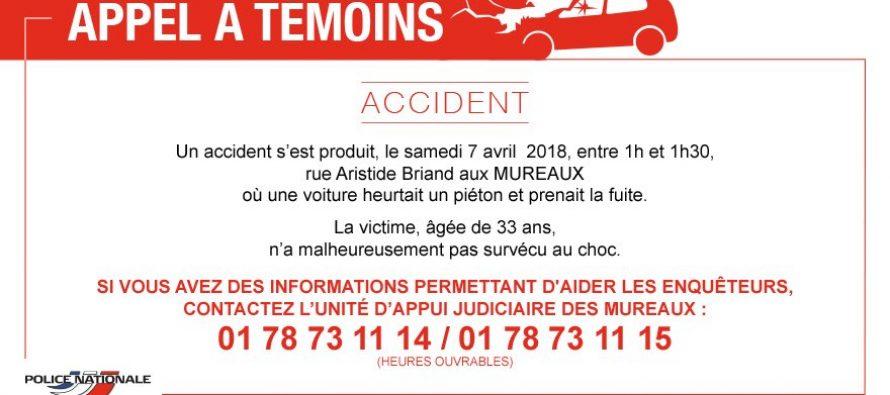 Accident mortel aux Mureaux : la police lance un appel à témoins