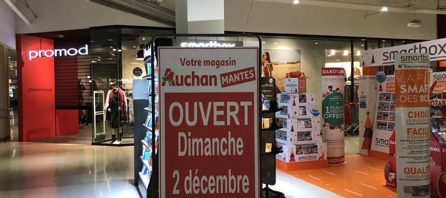 Décembre 2018 : Auchan Mantes ouvert tous les dimanches de 9h à 20h