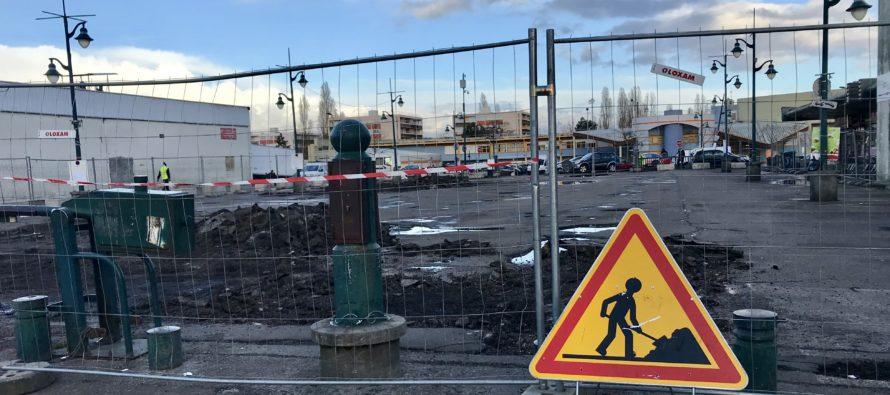 Mantes-la-Jolie : le parking du centre commercial du Val Fourré en travaux