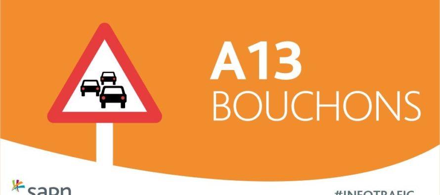 A13 Paris – Rouen : bouchon de 14 km entre Les Mureaux et Mantes après un accident