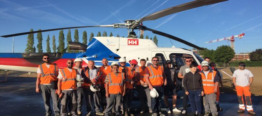Magnanville : opération d'héliportage au-dessus du complexe sportif firmin