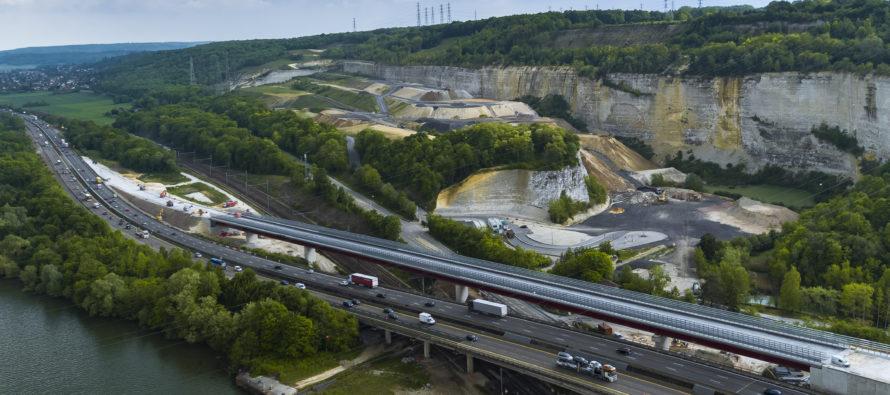 Viaduc de Guerville : travaux de la signalisation définitive au sol du sens Paris>Caen du 2 au 5 novembre