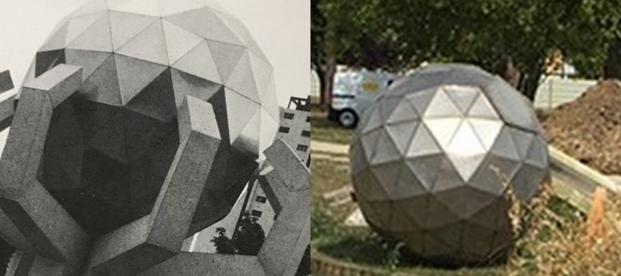 Mantes-la-Jolie : monument sphérique au Val Fourré, «La Fleur» a été démontée