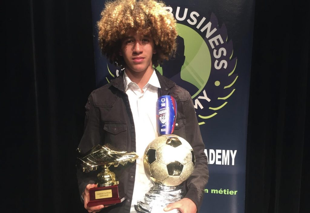 Hannibal Mejbri (Manchester United), vainqueur du Paname Best Player 2018. Crédit Photo Mantes Actu