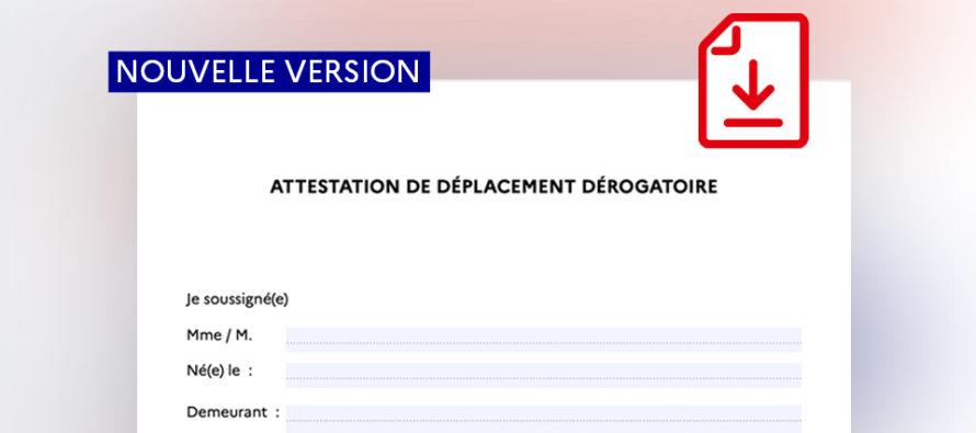 Attestation de déplacement dérogatoire : téléchargez la nouvelle version avec la date et l'heure