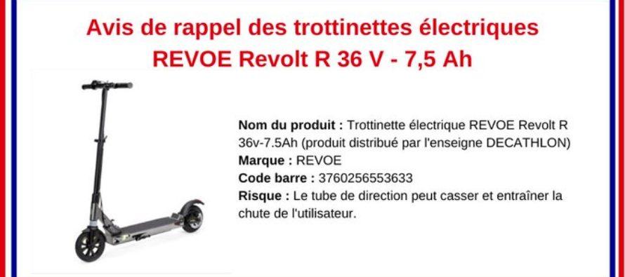 Décathlon : attention,la trottinette électrique REVOE peut entraîner une chute