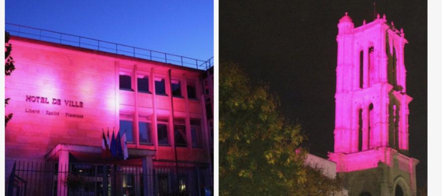 Mantes-la-Jolie : l'Hôtel de ville et la Tour Saint Maclou en rose pour soutenir la lutte contre le cancer du sein