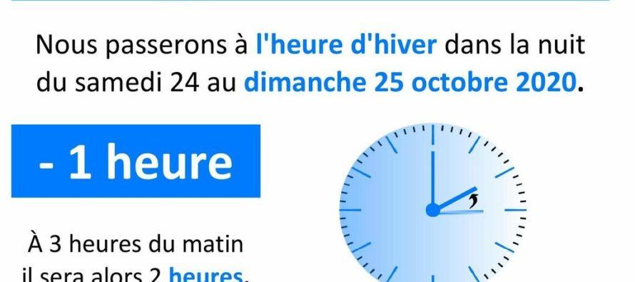 Passage à l'heure d'hiver 2020 : on change d'heure dimanche 25 octobre