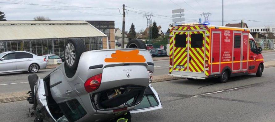Accident à Magnanville : la voiture finit sur le toit avenue de l'Europe